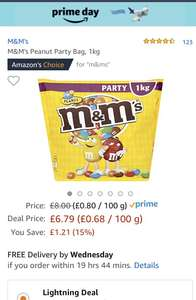 M&M's 1kg party bag bulk Amazon £6.79 Prime Day Deal