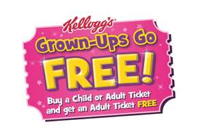 Grownups go free with kelloggs vouchers found on Kellogs products.