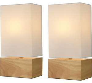 Pair of Light Wood Finish Table Lamps - Cream £12.99 At Argos Free C&C