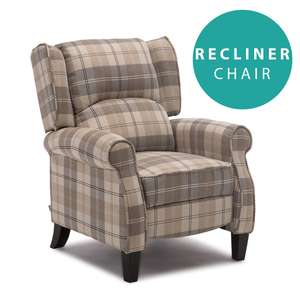 EATON WING BACK FIRESIDE CHECK FABRIC RECLINER ARMCHAIR SOFA LOUNGE CINEMO CHAIR - £135.99 @ More4Homes eBay