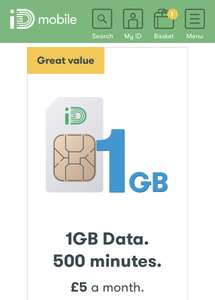 iD Mobile 30 day sim 500m, unlimited texts & 1GB £5