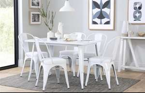 White metal dining table & 4 chairs plus free next day delivery at Furniture Choice for £149.99