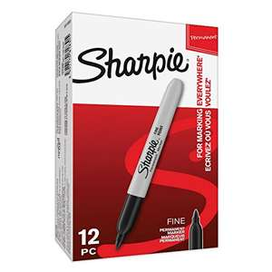 Sharpie Permanent Markers, Fine Tip, Black, Box of 12 £6.52 @ Amazon prime