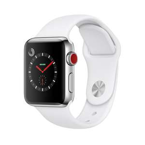 Apple Watch Series 3, GPS and Cellular, 38mm Stainless Steel Case with Sport Band, Soft White £429 John Lewis