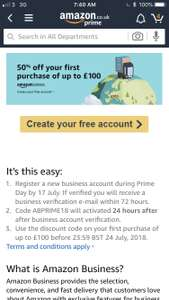 50% off first purchase of £100 @ Amazon Business