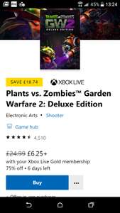 Plants vs. Zombies Garden warfare 2 (deluxe edition) £6.25 @ Microsoft