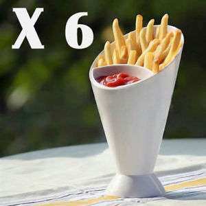 SET OF 6 SNACK CONE STANDS + DIP HOLDER French Fries/Chip/Bites/Finger Food/Bowl £6.99 @ ebay / 365-online_shopping
