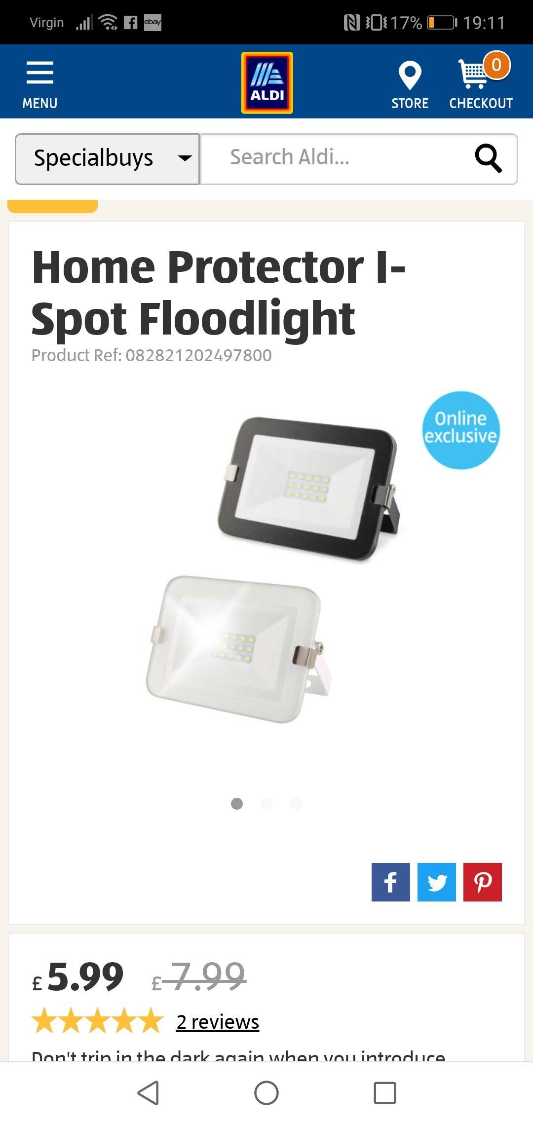 Home Protector I-Spot Floodlight £5.99 / £8.94 delivered @ Aldi discount offer