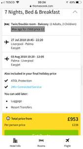 Thomas Cook Liverpool to Magaluf 1 week B&B 2 ad & 2ch 27th July - £953 via Thomas Cook