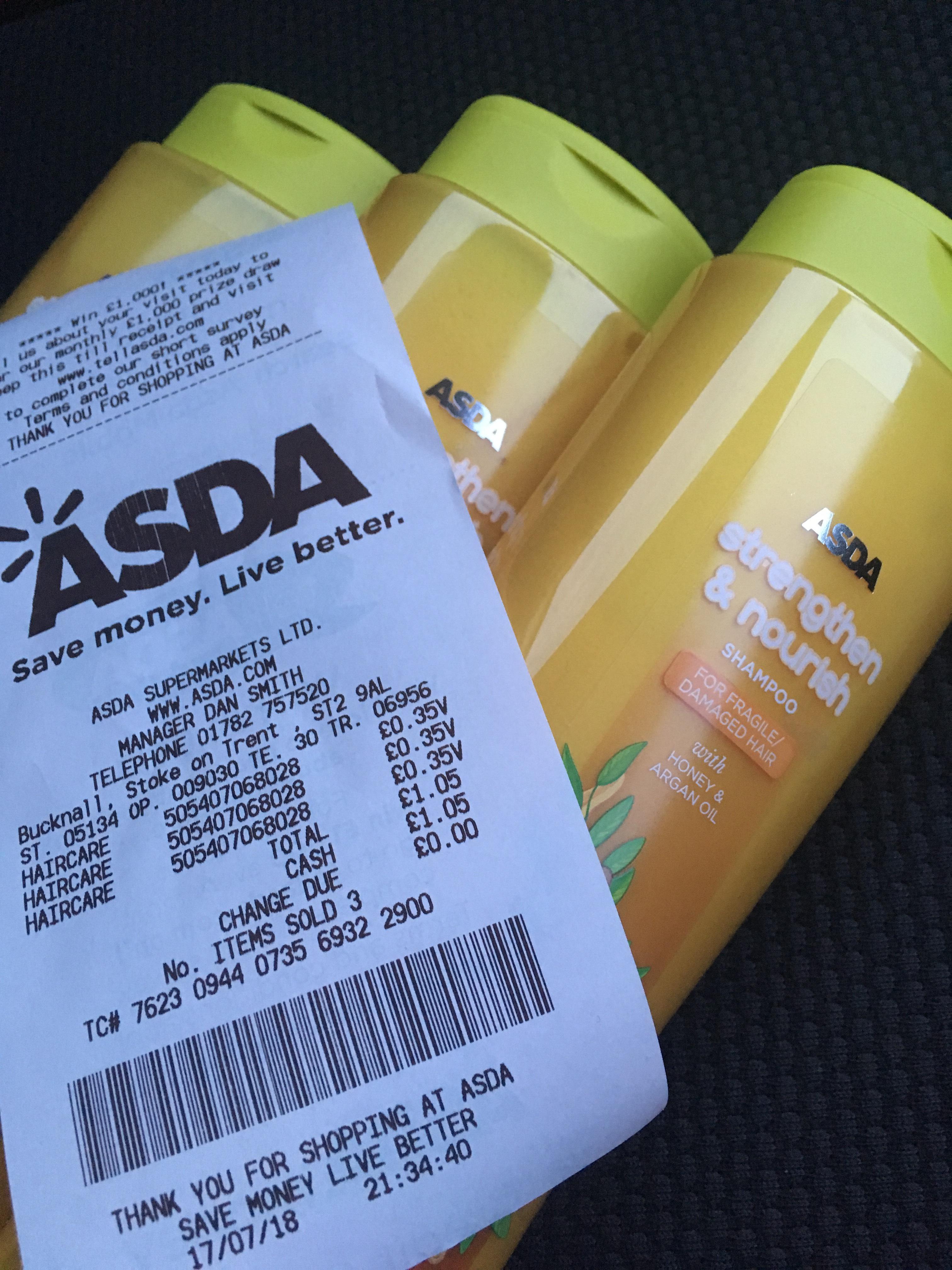 Shampoo 35p bottle Asda bucknall stoke on trent.@ Reduced Asda bucknall
