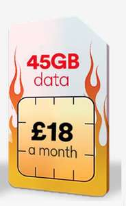 45GB Data 4G - 5,000 minutes & unlimited texts - £18 per month - 12 Month SIMO @ Virgin Mobile