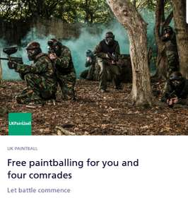 Free paintballing tickets via O2 Priority for 5 people (free paintballs for recepient only)