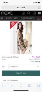 Next clearance online and in outlet stores -  dresses reduced from £65 to £5 in  Cheshire Oaks