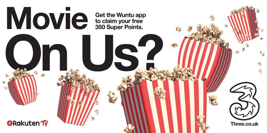 Free Rakuten film rental up to the value of £3.50 with the Wuntu App