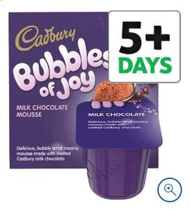 1\2 price :Cadbury Dairy Milk bubbles of joy chocolate mousse 4 x 45g now 75p \ milkybar white chocolate dessert 2 x 70g also 75p @ Tesco