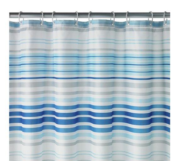 Skinny Stripe Shower Curtain - Blue £3.99 At Argos (Free C&C)