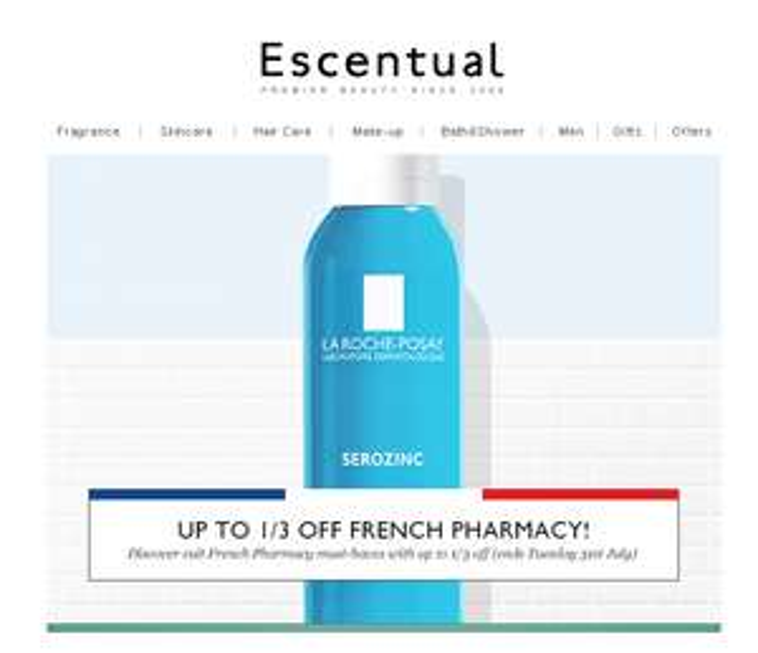 1/3 French Pharmacy Skincare including  La Roche Posay, Bioderma, Avene @ Escentual