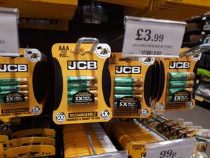 JCB rechargeable AA 1200 mah and AAA 900 mah, pack of 4 £3.99 @ B&M