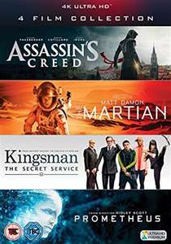4K UHD Film Collection (Assassin's Creed, The Martian, Kingsman & Prometheus) £25 @ CEX (£1.50 p&p)