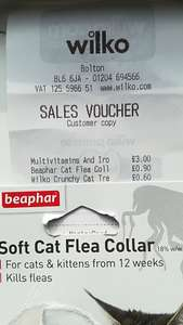 Beaphar Sparkle Cat Flea Collar 90p at Wilko in-store