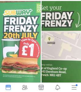 "Subway 6"" sub and drink for £1 (Norwich - Dereham Rd specific) on 20th July"