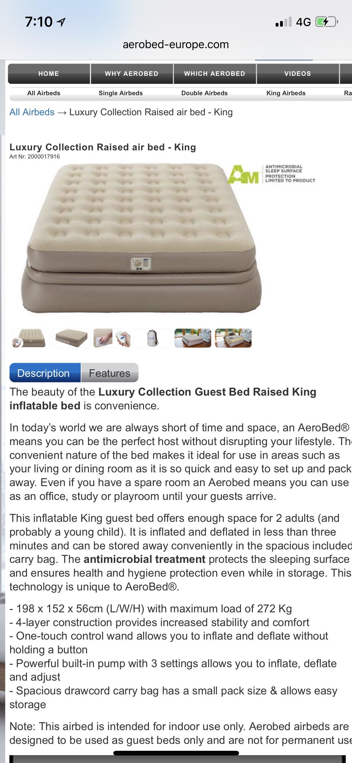 Luxury king raised aerobed - £144.99 @ Aerobed (£4.99 P&P)