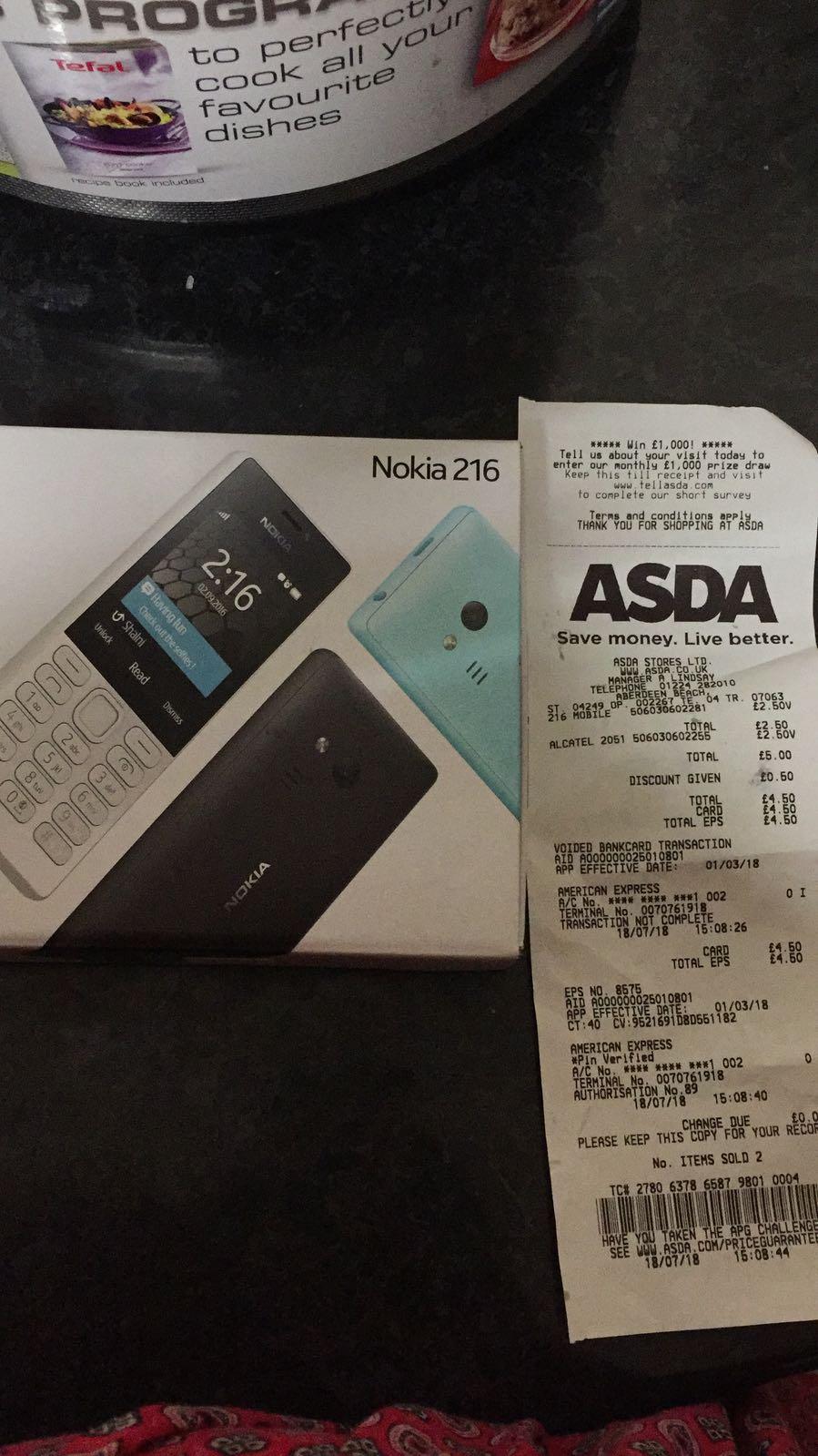 Nokia 216 for £2.50 @ Asda instore Aberdeen (Beach Store)