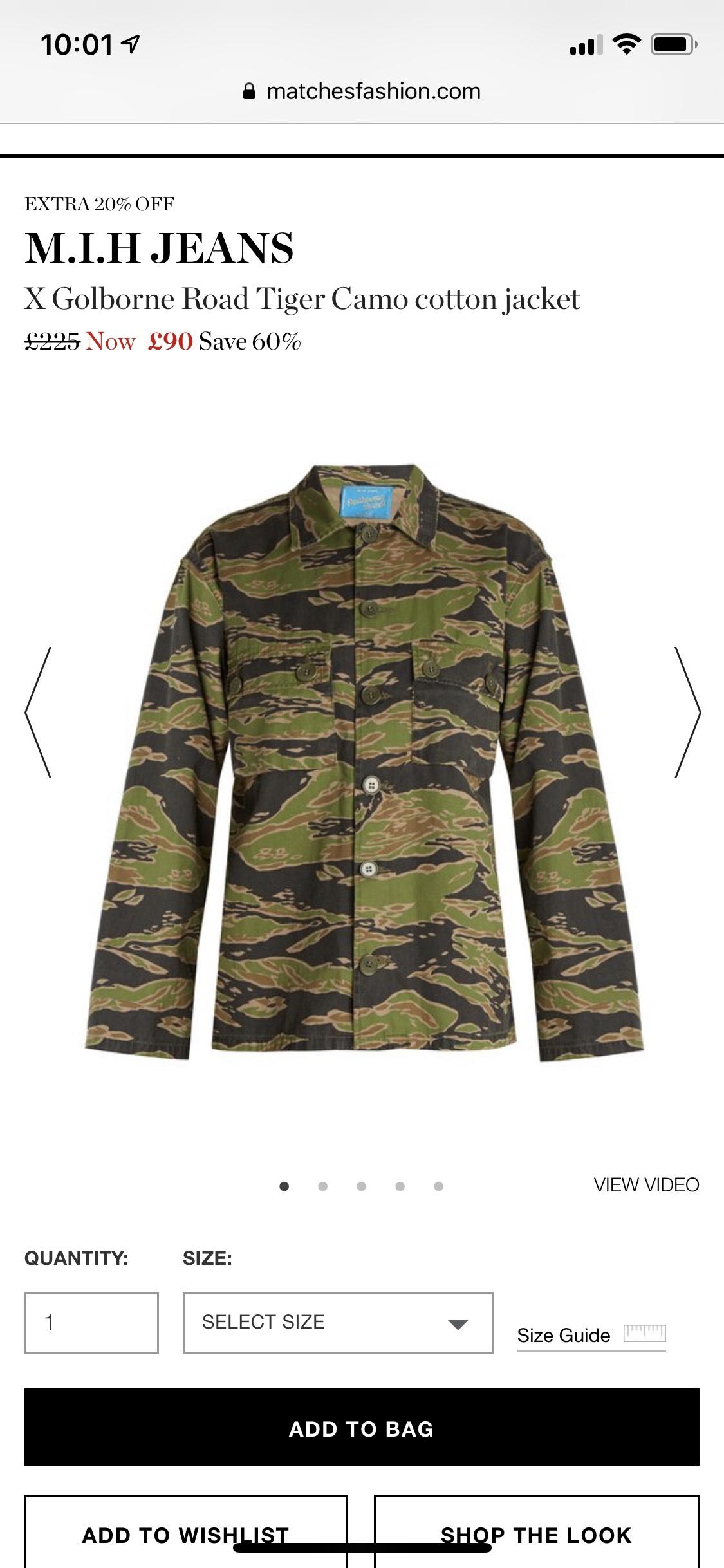 MIH Golborne Road Tiger Camo cotton jacket