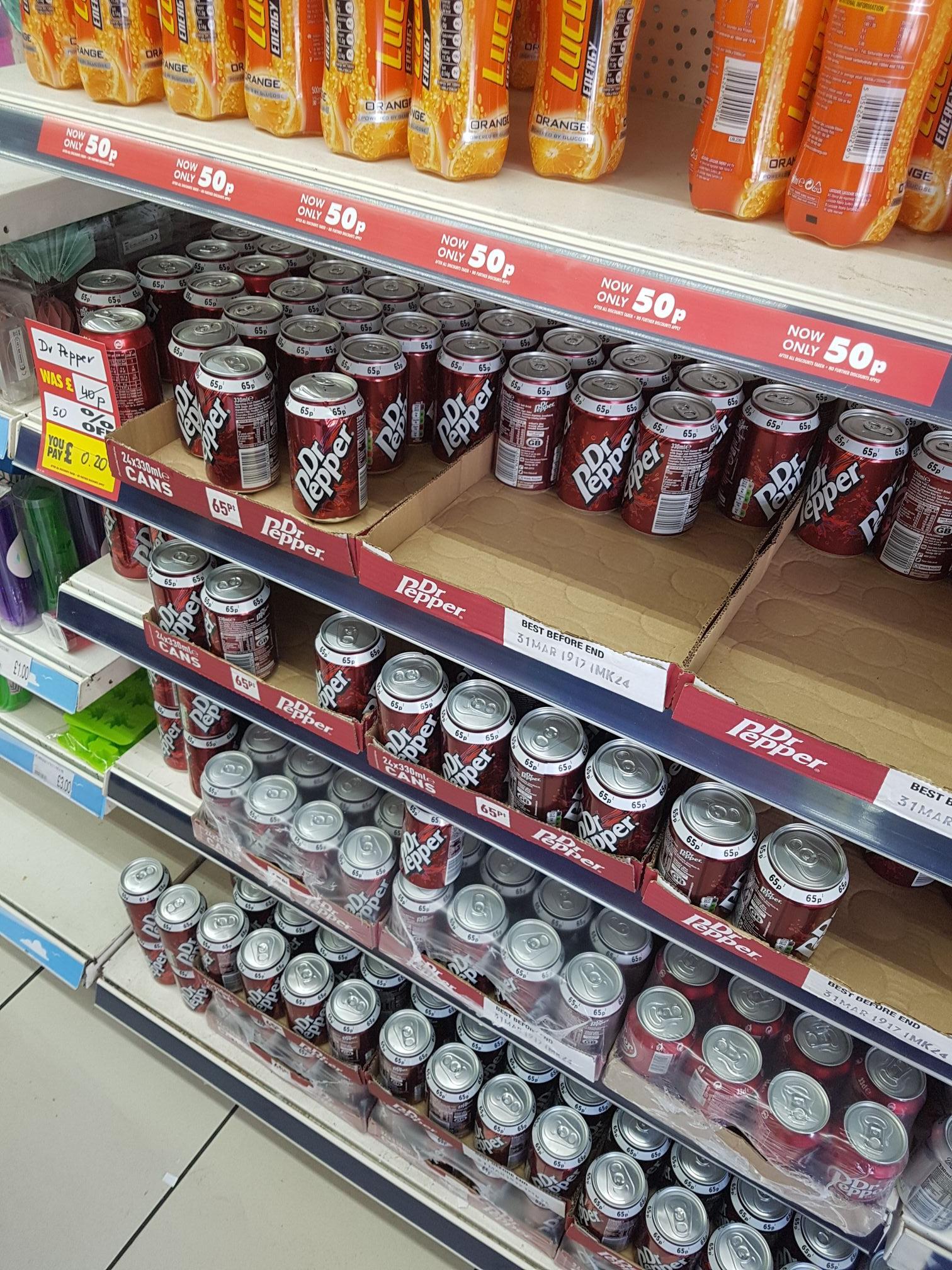 Dr pepper cans @ poundworld - 20p
