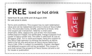 FREE Iced or Hot drink @ Tesco Cafe in July/August 2018 Magazine Page 62