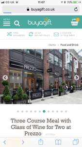Three course meal with glass of wine  (set menu) at Prezzo - £20 with code @ BuyAGift