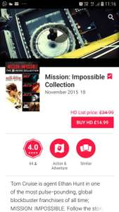 Mission Impossible 5 Movie collection £14.99 Google play