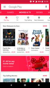 Any Google Play movie rental £1.49 (Possibly account specific)