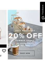 20% off summer shoes for 48 hours online at river island. Free click and collect