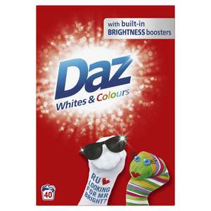 Daz Washing Powder For Whites and Colours 40 Washes 2.6kg wilko £5