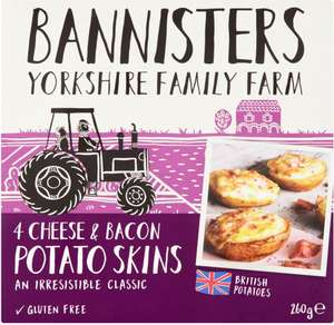 Bannisters' Farm Potato Skins Baked & Filled Cheese & Smoky Bacon 79p @ Heron Foods