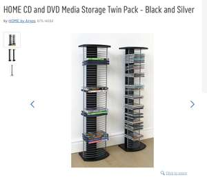 HOME CD and DVD Media Storage Twin Pack - Black and Silver @ Argos - £10.99 (free C&C)