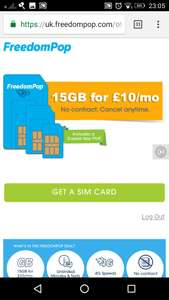 4g SIM only plan 15gb for £10, unlimited mins & texts @ Freedom Pop