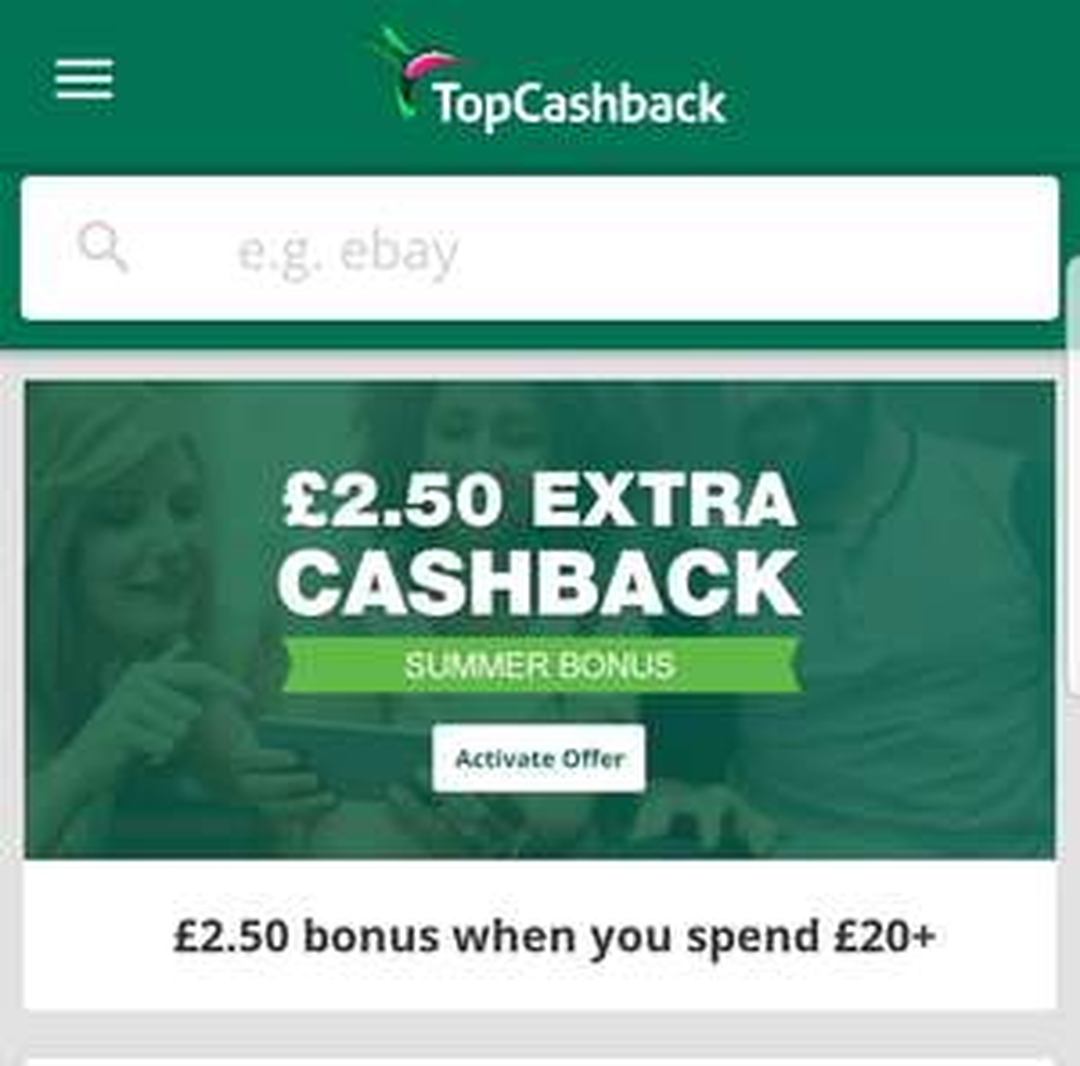 £2.50 bonus cash back on a £20 spend using TopCashBack