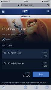Disney movie sale - films on offer from £5.99 on sky store