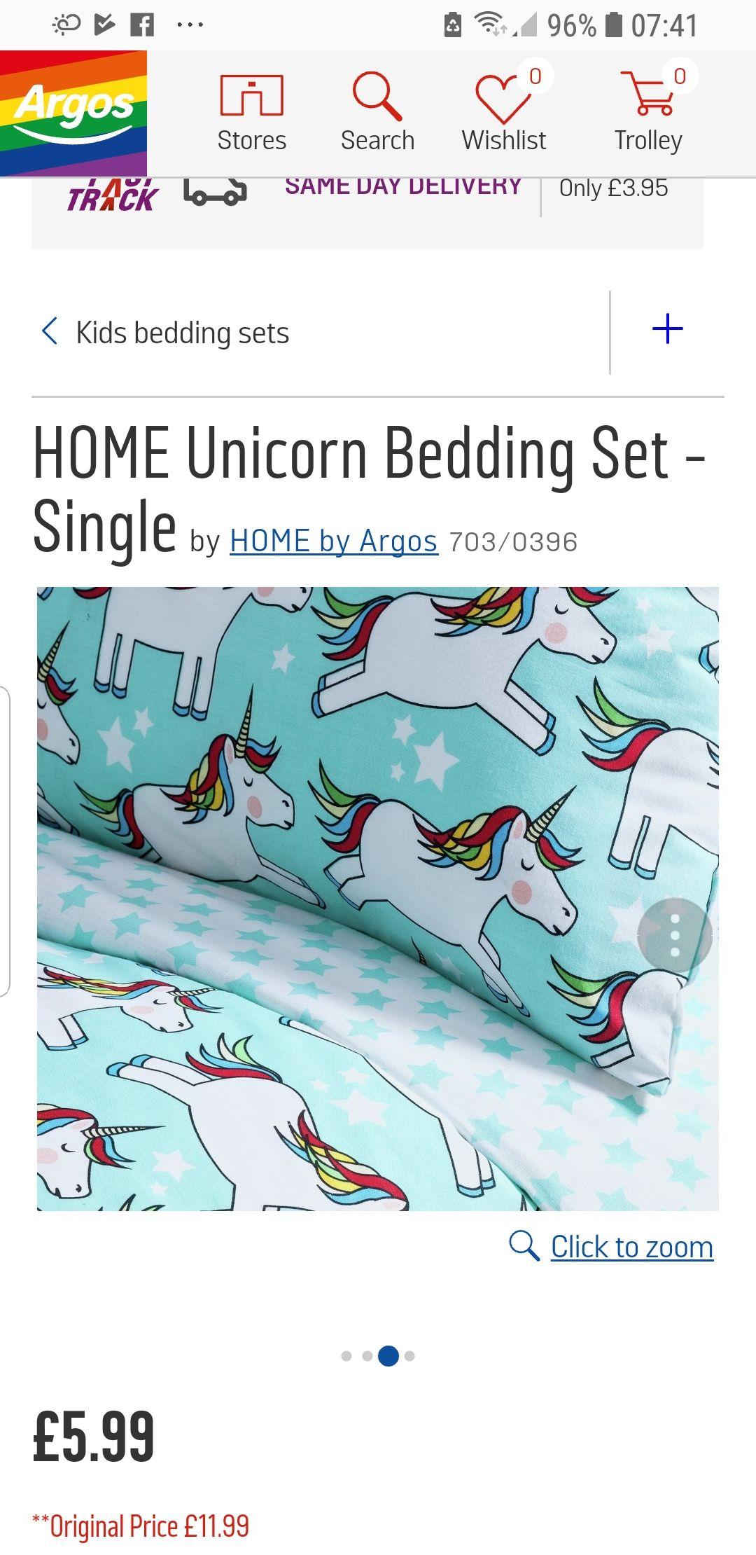 Unicorn bedding Toddler bed £3.99 & 4.99 single @ Argos