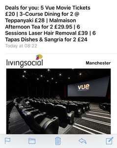 5 Vue tickets for £20 (Standard Vue locations - £35 for Premium) on living  social