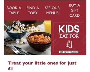 2 kids eat for £1 each with 1 adult includes breakfast @ Toby Carvery