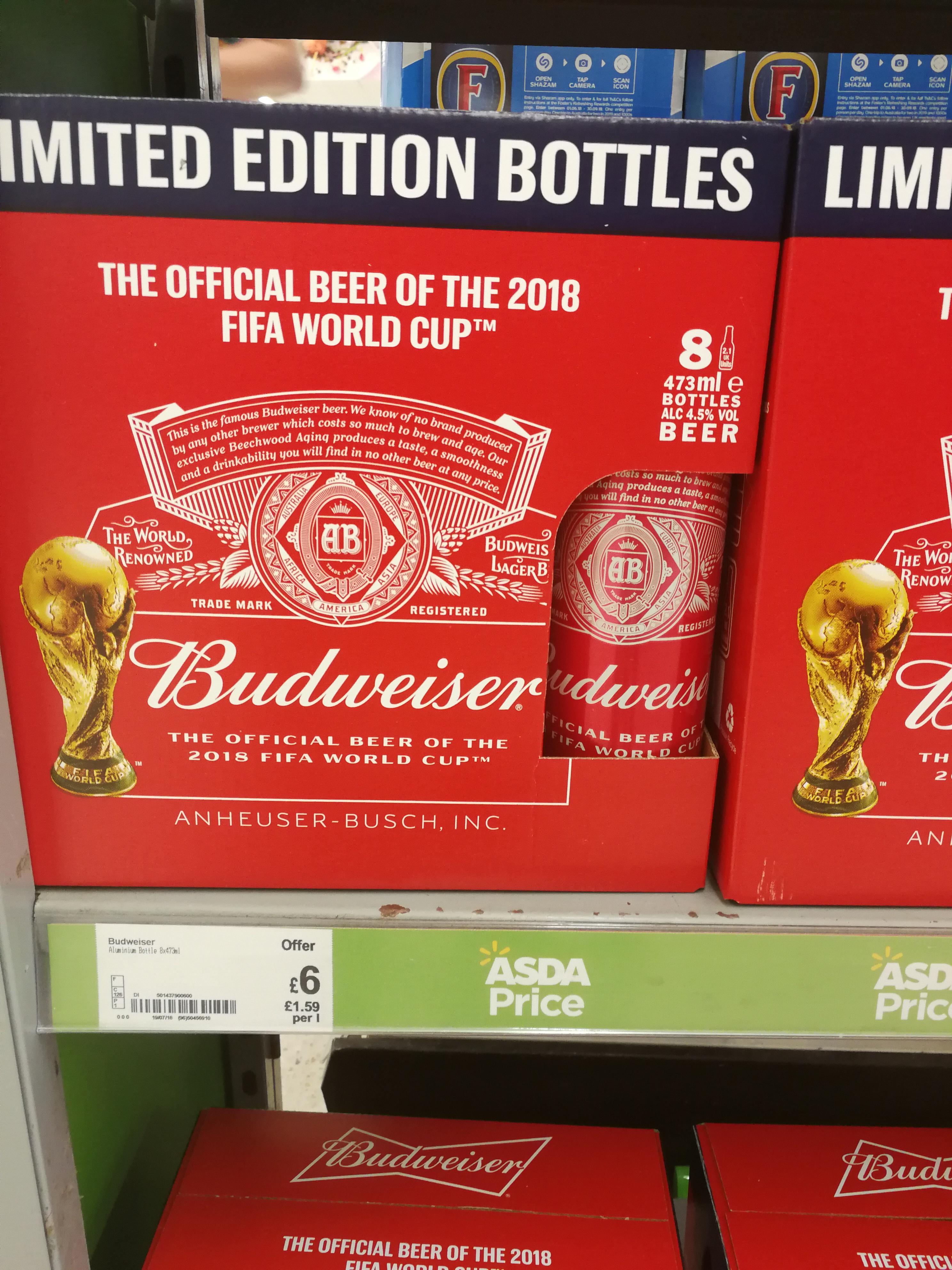 Budweiser world Cup 473ml 8 pack - asda £6