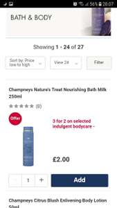 £2  Champneys Nature's Treat Nourishing Bath Milk 250ml 3 for 2 -. Free delivery to local store.