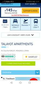 Talayot Apartment Menorca - £145.67pp (based on 4 - 1 free child place) - From Manchester / 7 Nights / From 5th October via TUI