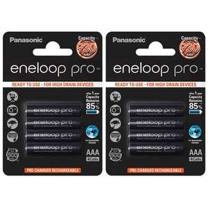 Panasonic Eneloop PRO AAA HR03 Ready to Use Rechargeable NiMh Batteries 930mAh - Extra Value 8 Pack £19.99 7dayshop
