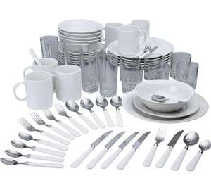HOME Essentials 60 Pc Stoneware Dinner / Glasses / Cutlery / Mugs Starter Set in White now £35.19 w/code @ Argos