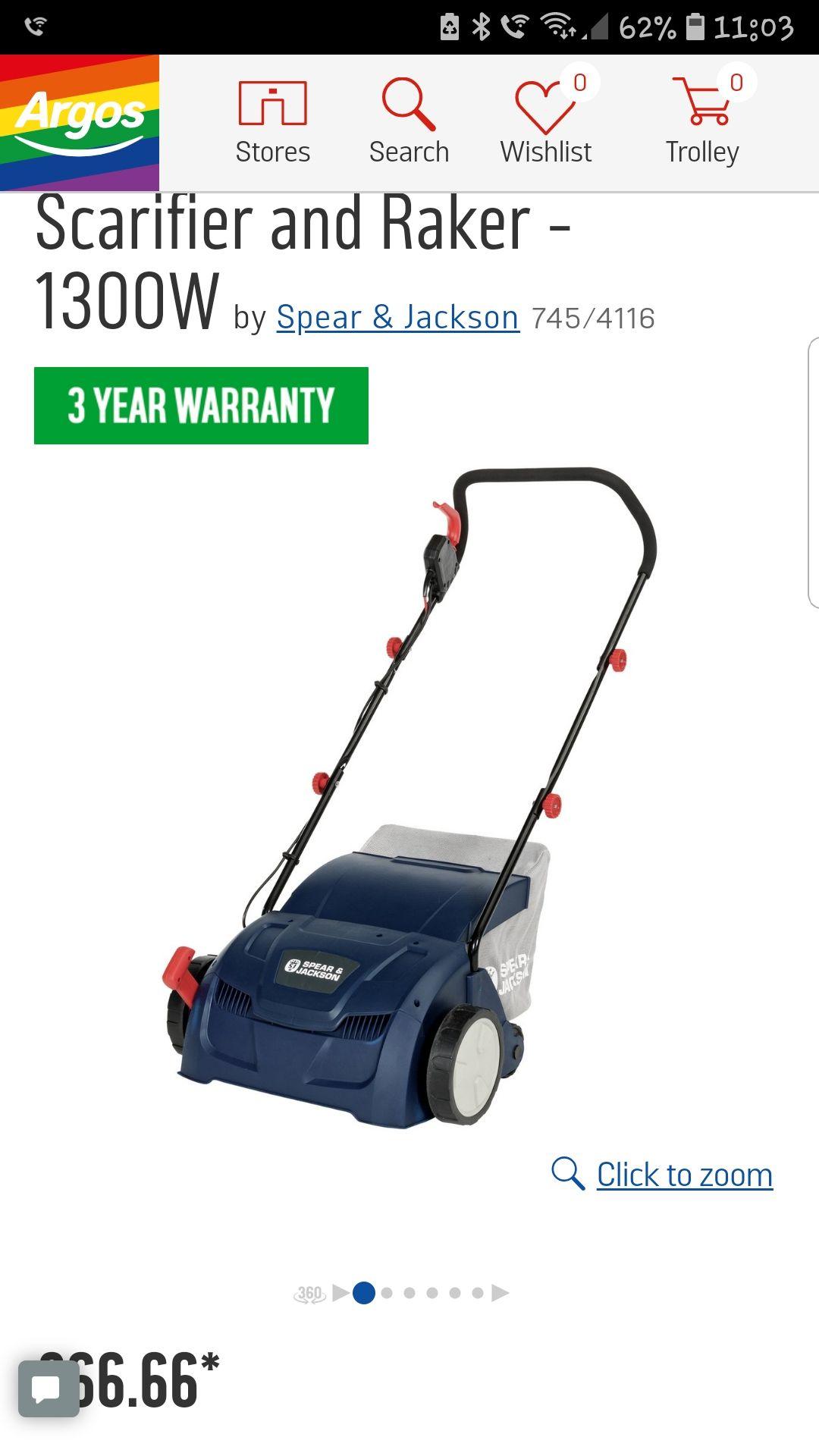 Spear & Jackson electric rake and scarifier £66.66 @ Argos