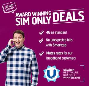3.5GB 4G Data - 2000 Minutes & Texts - 30 Days Sim £8 @ Plusnet Mobile